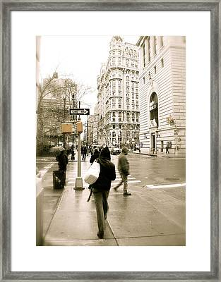 Walking New York Framed Print by Michael Peychich