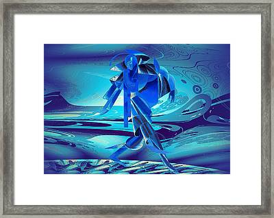Walking On A Stormy Beach Framed Print by Robert G Kernodle