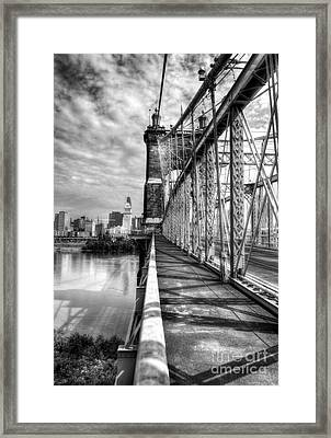 Walking On John Roebling's Bridge Bw Framed Print