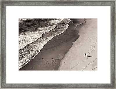 Walking On The Beach Framed Print