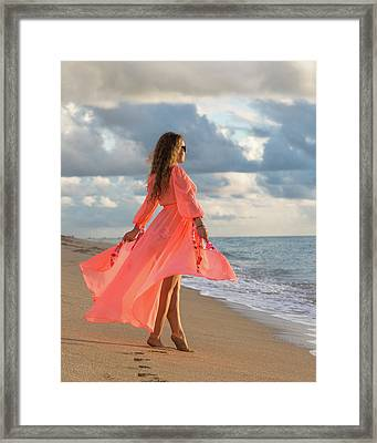 Walking On The Beach  Framed Print