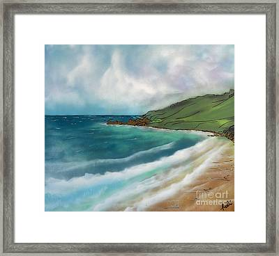 Walking On The Sand Framed Print by Robin Lewis