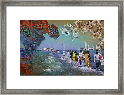 Walking On Water To The Mosque Of Haji Ali In Dragah, Maharastra Framed Print by Hans Schrodter