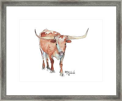 Walking Tall Texas Longhorn Watercolor And Ink By Kmcelwaine Framed Print