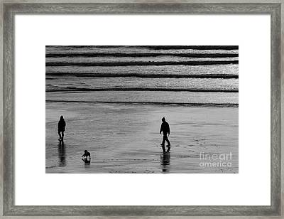 Framed Print featuring the photograph Walking The Dog At Marazion by Brian Roscorla