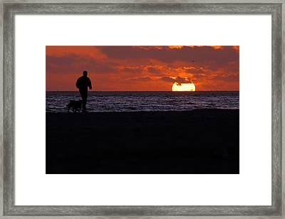 Walking The Dog Framed Print by Clayton Bruster
