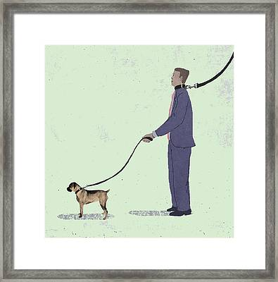 Walking The Dog Framed Print by Steve Dininno