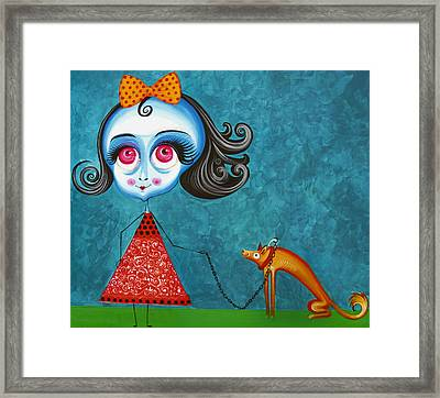 Walking The Dog Framed Print by Tiberiu Soos