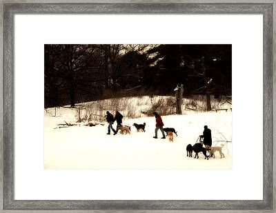 Walking The Dogs Framed Print by Cabral Stock