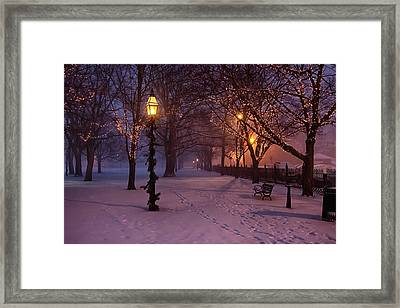 Walking The Path On Salem Common Framed Print