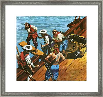 Walking The Plank Framed Print by Ron Embleton