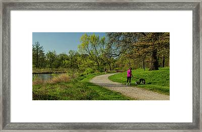Walking The Savanna Boardwalk Trail In Forest Park Framed Print by Garry McMichael
