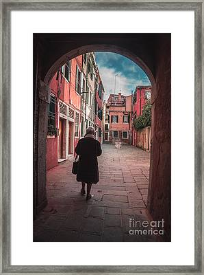 Walking Through Time - Venice, Italy Framed Print