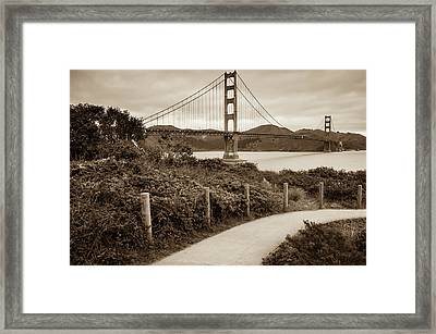 Walking To The Golden Gate Bridge - California - Sepia Edition Framed Print