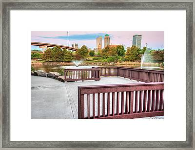 Walking To The Tulsa Downton Skyline Framed Print by Gregory Ballos
