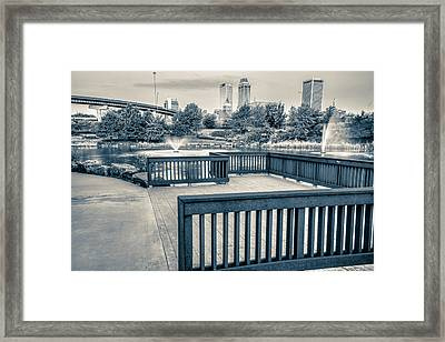 Walking To The Tulsa Downton Skyline In Black And White Framed Print by Gregory Ballos