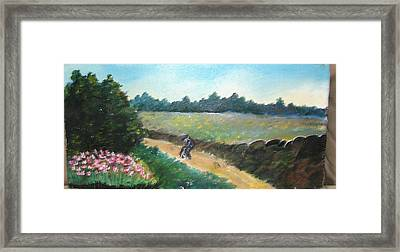 Walking To Town Framed Print by Anne-Elizabeth Whiteway