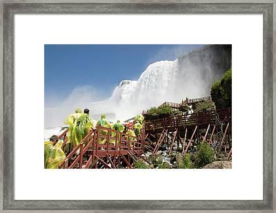 Framed Print featuring the photograph Walking Up Below Niagara Falls by Jeff Folger