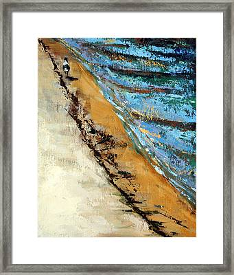 Walking With A Sandpiper Framed Print by Suzanne McKee