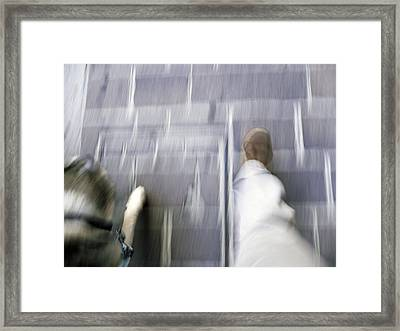 Walking With Dog Framed Print by Mikael Gambitt