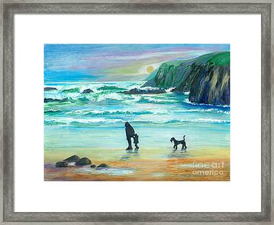 Walking With Grandpa - Painting Framed Print by Veronica Rickard