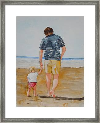 Walking With Pops Framed Print by Jean Blackmer