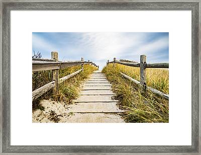 Walkpath To The Beach Framed Print by Enrico Della Pietra