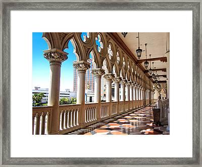 Walkway At The Venetian Hotel Framed Print by Julie Niemela