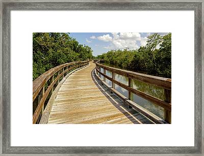 Framed Print featuring the photograph Walkway Over The Florida Salt Water Marsh  -  Preservewalkway135453 by Frank J Benz