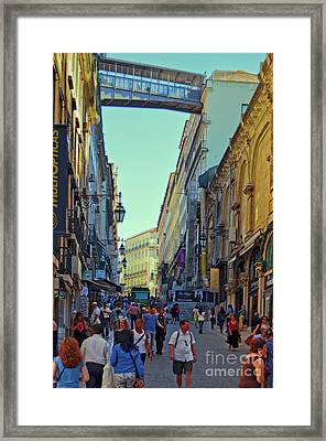 Framed Print featuring the photograph Walkway Over The Street - Lisbon by Mary Machare