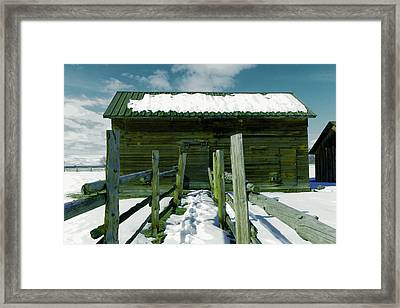 Framed Print featuring the photograph Walkway To An Old Barn by Jeff Swan