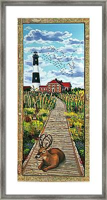 Walkway To Fire Island Lighthouse Framed Print