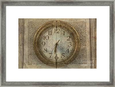 Framed Print featuring the digital art Wall Clock And Book Double Exposure by Randy Steele