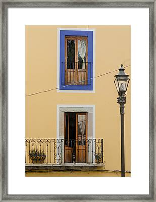 Wall, Doors And Lamp In Guanajuato. Framed Print