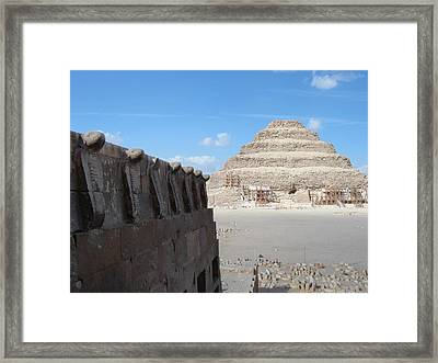 Wall Of Cobras At The Step Pyramid Framed Print
