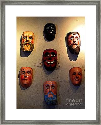 Wall Of Masks 2 Framed Print