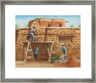 Framed Print featuring the painting Wall Repair by Oz Freedgood