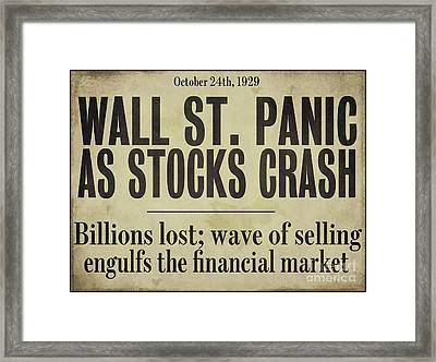 Wall Street Crash 1929 Newspaper Framed Print by Mindy Sommers