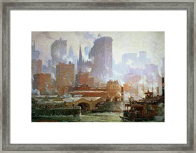 Wall Street Ferry Ship Framed Print by Colin Campbell Cooper
