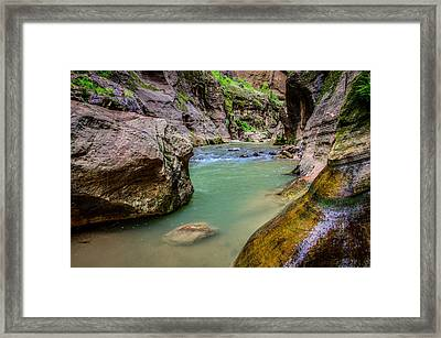 Wall Street Hiking Zion National Park Framed Print