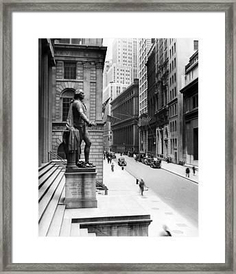 Wall Street Is Virtually Deserted Framed Print by Everett