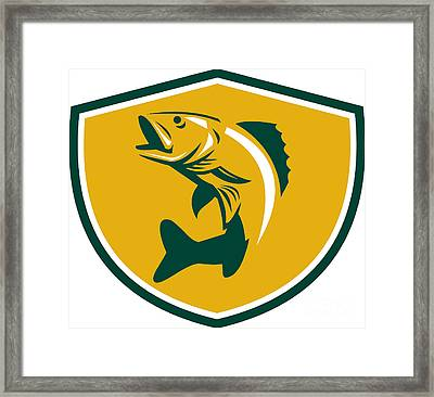 Walleye Fish Jumping Crest Retro Framed Print by Aloysius Patrimonio