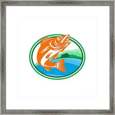 Walleye Fish Lake Cabin Oval Retro Framed Print