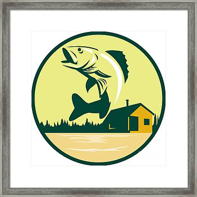 Walleye Fish Lake Lodge Cabin Circle Retro Framed Print by Aloysius Patrimonio