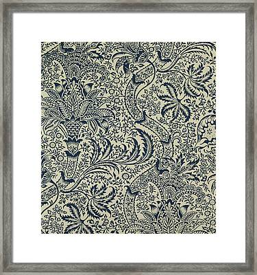 Wallpaper With Navy Blue Seaweed Style Design Framed Print