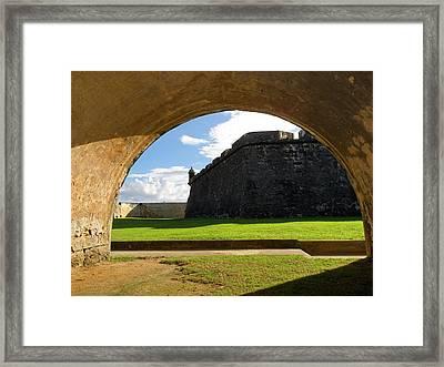 Walls Of San Felipe Del Morro Viewed Through  An Arch Framed Print