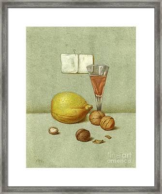 Walnuts And Lemon Framed Print