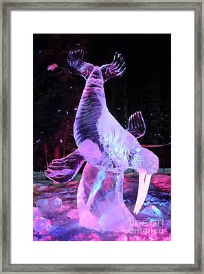 Walrus Ice Art Sculpture - Alaska Framed Print by Gary Whitton