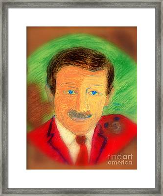 Framed Print featuring the painting Walt Disney It's In The Ears by Richard W Linford