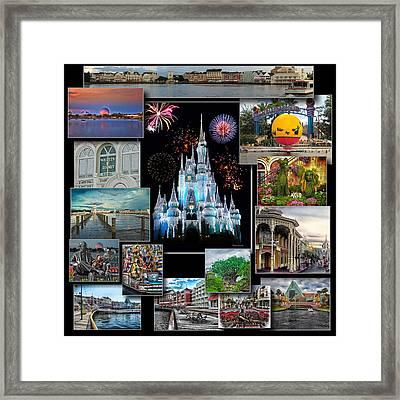Walt Disney World Collage Framed Print by Thomas Woolworth